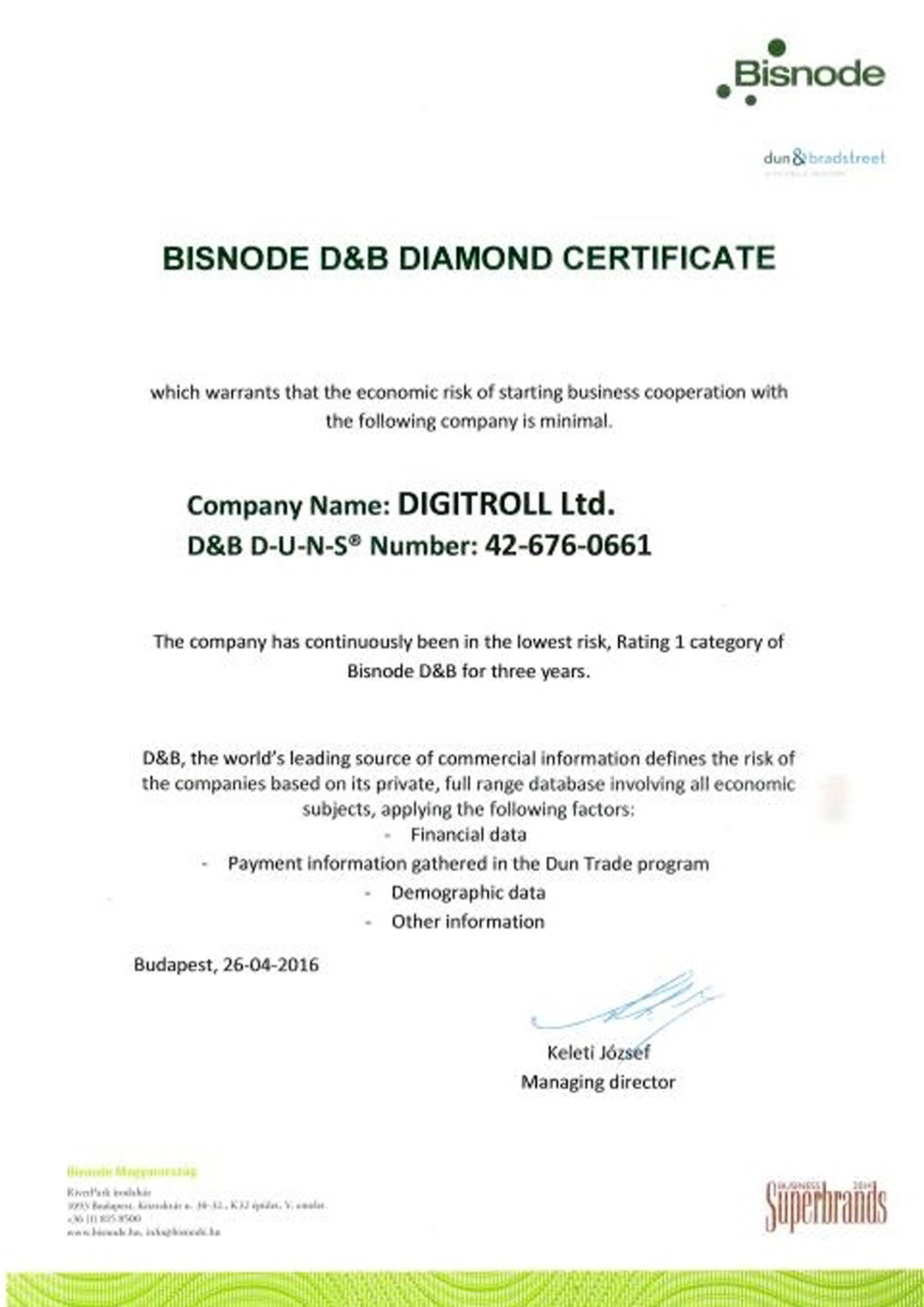 D&B Certificate | Digitroll Seeding Monitor Systems